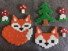 Table Decorations Fuchs in the Forest of iron beads The autumn is here! In this set you get a large sleeping fox (height width a large fox head (height width Perler Bead Designs, Pearler Bead Patterns, Diy Perler Beads, Perler Bead Art, Perler Patterns, Bead Crafts, Diy And Crafts, Crafts For Kids, Arts And Crafts