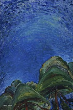 Above the Trees, huile sur papier - Emily Carr (Canadian, Canadian Painters, Canadian Artists, Emily Carr Paintings, Group Of Seven Paintings, Vancouver Art Gallery, Post Impressionism, Impressionist Paintings, Tree Art, Artist Art