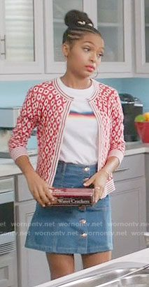 Zoey's rainbow stripe top and red printed cardigan on Black-ish Fashion Tv, Star Fashion, Fashion Outfits, Outfits For Teens, Cute Outfits, Retro, Passion For Fashion, Black Ish, Stripe Top