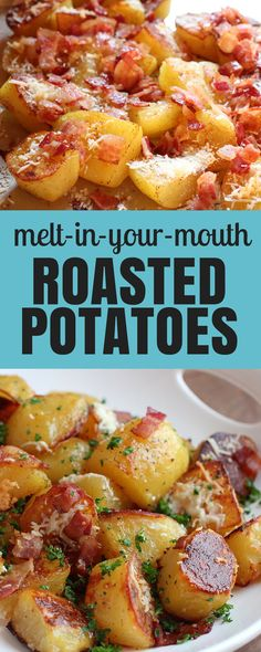Bacon! Cheese! These crunchy oven-roasted potatoes have all the stuff I love!
