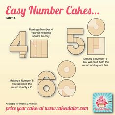 Easy Number Cakes 4-5-6