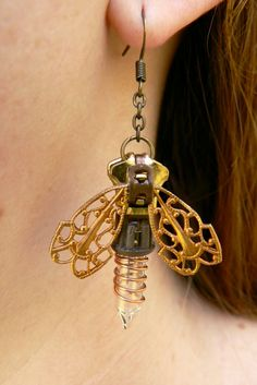 Steampunk Firefly Earrings Christmas Earrings by PeteAndVeronicas