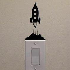 Stickers Créative Noir Sticker interrupteur Fusée Stickers