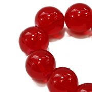 The Bead Shop 16mm Round Glass Marble Bead - Red