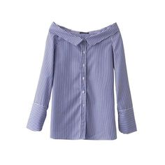 Sexy Striped Pattern Off Shoulder Peter Pan Collar Shirt ZA Fashion Women Casual Long Sleeve Buttons Side Slit Blouse Tops femme Fashion Pattern, Sexy, Personalized T Shirts, Casual Elegance, Look Fashion, Fashion Women, Collar Shirts, Cute Shirts, Colorful Shirts