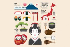 Japan Flat Icons Design Travel Conce by Pongsuwan on Creative Market