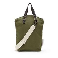 Minimalist fall winter 2016 genreDenis backpack convertible shoulder bag. Khaki cotton, black leather and natural cotton straps