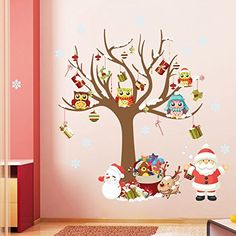 ORDERIN Art Christmas Gift Decal Merry Christmas Gift Tree Happy Animal Removable Mural Wall Stickers Art for Children Kids Christmas Room Decor >>> Visit the image link more details.
