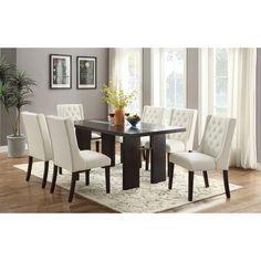AMB Furniture AMB Furniture 7 pc turnbull collection espresso finish wood table dining table with glass insert and white chairs Living Room Plants, Living Room Chairs, Dining Room Table, Wood Table, Kitchen Tables, Dining Set, Contemporary Dining Room Sets, Contemporary Furniture, Tufted Dining Chairs