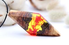 Dragon Flame wooden resin pendant Eco epoxy jewelry Green Wood