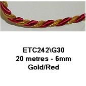 Essential Trimmings Metallic Twisted Cord in Red and Gold 6 mm