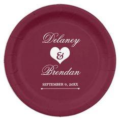 Heartline (burgundy) Wedding Paper Plate
