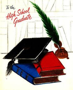 Vintage Greeting Card Books Cap Feather Pen Ink Graduation