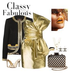 """""""Gold!"""" by the-luxurious-glam ❤ liked on Polyvore featuring Roberto Cavalli, Yves Saint Laurent, Michael Kors, Tevolio, Chanel, Talbots, GUESS and Évocateur"""