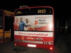 reklama meczu Polska-Czarnogóra, kampania z wykorzystaniem autobusów MZA w Warszawie