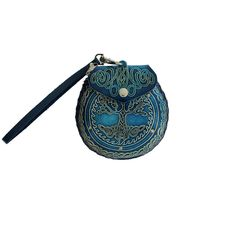 1f19f3a2036 Purple Leopard Boutique - Blue Leather Tree of Life Wristlet or Coin Purse  with Strap,