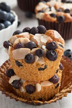 """The Best Paleo Blueberry Muffins are just ONE of 20 morning paleo muffins recipe. These paleo blueberry muffins taste even better to me than ones made with wheat. They truly are """"the best"""" blueberry muffins. Paleo Blueberry Muffins, Gluten Free Muffins, Blue Berry Muffins, Healthy Muffins, Blueberries Muffins, Paleo Baking, Baking Recipes, Cake Recipes, Dessert Recipes"""