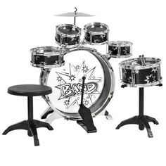 Best Choice Products Kids Drum Set Kids Toy with Cymbals Stands Throne Black Silver Boys Toy Drum Kit Percussion Musical Instruments, Percussion Drums, Kids Drum Set, Junior Drum Set, Drums For Sale, Snare Drum, Bass Drum, Musical Toys, Drum Kits