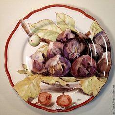 "Тарелка фарфоровая ""Инжир и груши"" - коричневый,тарелка,Тарелка декоративная"