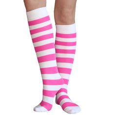 eeaef8ef7 Bright neon pink and White bumblebee striped knee high socks. Support  Breast Cancer Awareness.