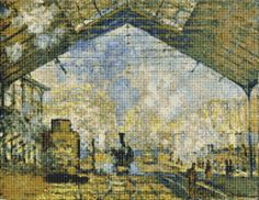 Monet's Railway Station Cross Stitch Pattern / Chart, Claude Monet, Gare Lazare, Instant Digital Download  (AP446)