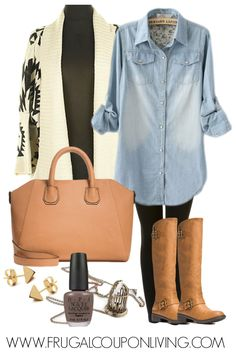 Frugal Fashion Friday – Aztec Sweater Outfit with a Jean Shirt #fashion #fashionblogger #frugalfashion #fashionfriday