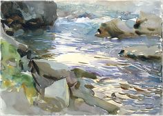 Stream and Rocks - John Singer Sargent (American, Florence 1856–1925 London) Date: ca. 1901–8 Medium: Watercolor, gouache, and graphite on white wove paper Dimensions: 10 x 14 in. (25.4 x 35.6 cm) Classification: Drawings Credit Line: Gift of Mrs. Francis Ormond, 1950