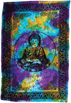 This thick, 100% cotton wall tapestry displays the serene image of Buddha against a swirling, tie-dye design. Here he is depicted in the traditional lotus position, serene within meditational bliss an