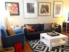 "The ""Blank & Boring to Cheery & Comfortable"" Living Room Makeover — Makeover. Lovely room done entirely with craigslist & Ikea Comfortable Living Rooms, Cozy Living Rooms, Apartment Living, Living Room Decor, Living Spaces, Apartment Therapy, Austin Apartment, Apartment Design, Study Interior Design"
