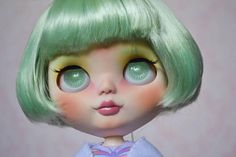 OOAK Custom Factory Blythe Doll  With Short Pale Green Hair