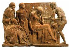 Ulisse, Penelope, Telemaco, Laerte, Eumeo, rilievo melio in terracotta, 460-450 a.C., New York, Metropolitan Museum
