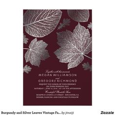 Burgundy and gold leaves vintage fall wedding invitations. -- All design elements created by Jinaiji Color: burgundy/gold. Burgundy Wedding Invitations, Country Wedding Invitations, Rehearsal Dinner Invitations, Beautiful Wedding Invitations, Vintage Wedding Invitations, Bridal Shower Invitations, Party Invitations, Cricut Invitations, Invitation Wording