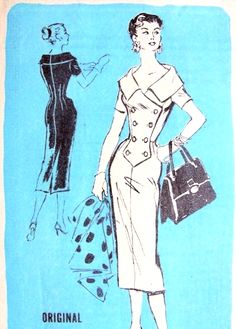 1950s Alan Phillips Slim Day or Cocktail Dress Pattern Prominent Designer A751 Flattering Portrait Collar Surplice Double Breasted Sophia Loren Wiggle Dress Vintage Sewing Pattern FACTORY FOLDED