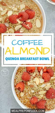 Coffee Almond Quinoa Breakfast Bowl - Energize your morning by combining your favorite coffee with a hearty bowl of prot. Quinoa Breakfast Bowl, Breakfast Recipes, Snack Recipes, Dessert Recipes, Dinner Recipes, Breakfast Ideas, Healthy Recipes, Easy Recipes, Keto Recipes