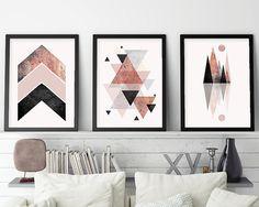 Set of 3 prints Minimalist Poster by UrbanEpiphanyPrints on Etsy Geometric Poster, Geometric Art, Scandinavian Modern, Modern Wall Decor, Wall Art Decor, Bild Gold, Black And Grey Rose, Pink Black, Skandinavisch Modern