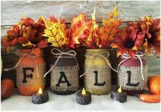 Hand painted rustic mason jar FALL decor set. Each jar is painted by hand, distressed, and sealed for a matte finish. This is great to add a rustic country feel to your home and makes the perfect set to welcome in a new season! Great as a centerpiece on the dining table or kitchen table or on top of the mantle to fill with fresh flowers!