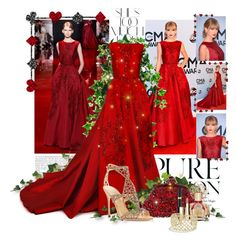 """""""Burning Red"""" by summer-blue ❤ liked on Polyvore featuring Elie Saab, Rika, Dolce&Gabbana, Vince Camuto, Sergio Rossi, Tom Ford, Clarins and David Yurman"""