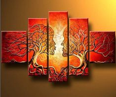 Wieco Art The Lovers Tree 5 Panels Modern 100 Hand Painted Abstract Stretched and Framed Oil Paintings Artwork on Canvas Wall Art Decor for Living Room Bedroom Home Decorations *** More info could be found at the image url. Modern Oil Painting, Canvas Painting Landscape, Oil Painting Abstract, Oil Paintings, Painting Canvas, Abstract Canvas, Mural Painting, Abstract Trees, Dream Painting