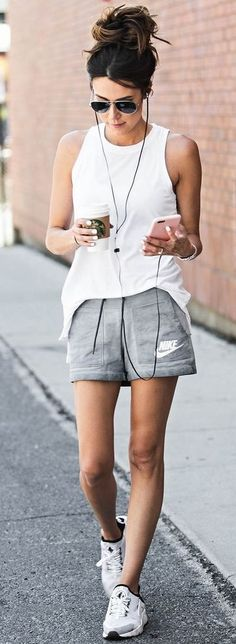 #summer #ultimate #outfits | White and Grey Sporty Outfit