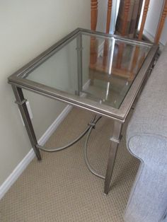 BEVELED PLATE GLASS END TABLE Visit www.sellmystuffcanada.com for more great photos of eclectic estate sale items!