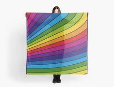 Rainbow stripes scarf/wrap Foulard carré 140 cm motif Striped Scarves, Scarf Wrap, Stripes, Rainbow, Etsy, Art, Decor, Square Scarf, Handmade Gifts