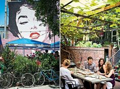 Liz Taylor's violet eyes are always watching over Dacha, a beer garden in DC's Shaw where bartenders pull pints of hefeweizen and Kölsch (left). Dupont Circle's Iron Gate is one of the prettiest places around for dinner under the stars (right). Photographs by Scott Suchman.