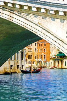 Venice Italy Venice Canal Rialto Bridge Gondola by FineArtography
