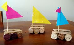 "Sink or swim - create some little boats with corks, cocktail sticks & paper. Will they sink or float? ("",)"