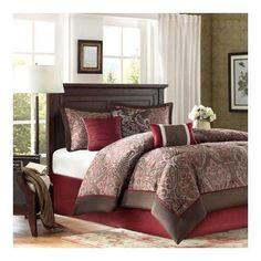 Brown Burgundy Bedding Comforter Set 7 Piece Master Bedroom King Size Bed