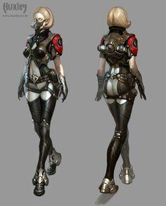 Huxley / character concept art / www.huxley.co.kr Character Model Sheet, Character Modeling, Female Character Design, Character Art, Character Concept, Steampunk Armor, Game Concept, Concept Art, Science Fiction