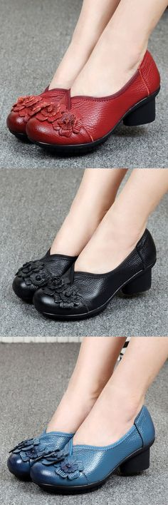 cf0988459904 Socofy Leather Mid Heel Vintage Handmade Flower Original Soft Shoes is  well-designed. NewChic offers a wide range of cheap pumps shoes for women