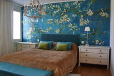 Feature wall with a Van Gogh-inspired paint job! Decor, Tropical Home Decor, Home, Wall Decals Living Room, Cool Walls, Living Room Styles, Apartment Living Room, Wallpaper Design For Bedroom, India Decor