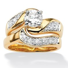 Palm Beach Jewelry PalmBeach Round Cubic Zirconia 14k Gold-Plated Swirled Bridal Engagement Ring Wedding Band Set Class