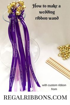 How to make a wedding ribbon wand with custom ribbon from regalribbons.com